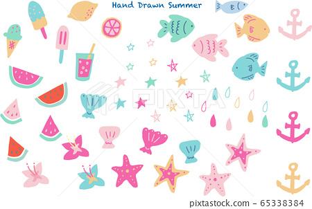 Hand drawn summer material illustration 65338384