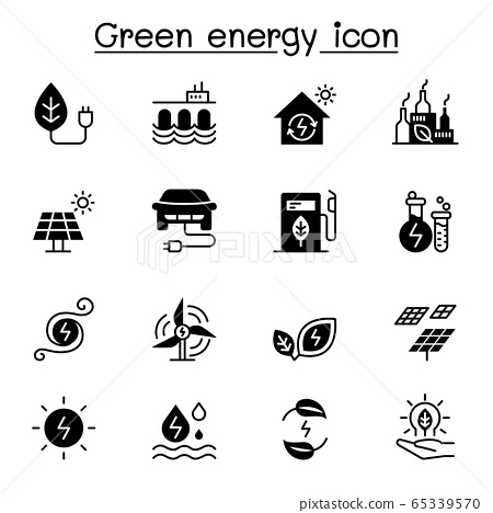 Green energy icon set vector illustration graphic 65339570
