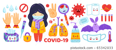 Girl in medical mask, sanitizer, lungs, thermometer, napkins, magnifier, toilet paper. 65342833
