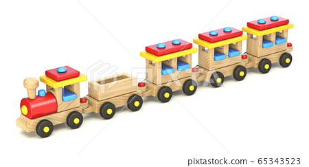 Wooden train in a line 3D 65343523