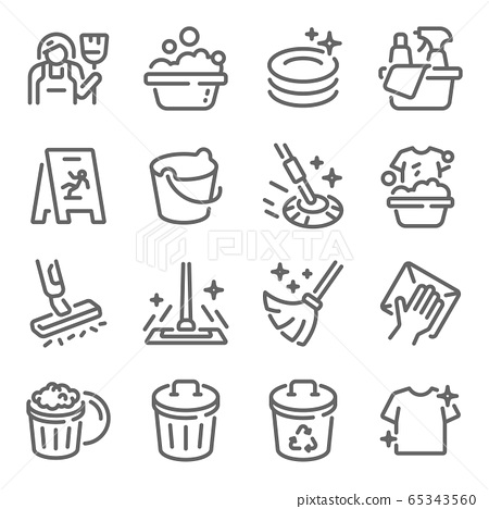 Cleaning icon set vector illustration. Contains such icon as Washing, Swipe, Cleaner, Maid, Mop, Bucket and more. Expanded Stroke 65343560