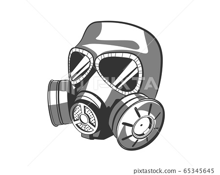 Illustration of gas mask isolated on white 65345645