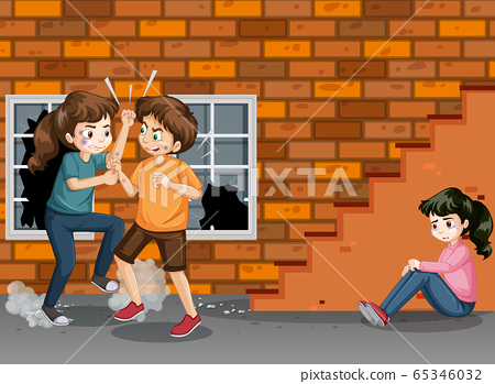 Domestic violence scene with people fighting on 65346032