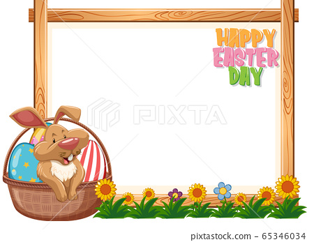 Border template design with easter bunny and eggs 65346034