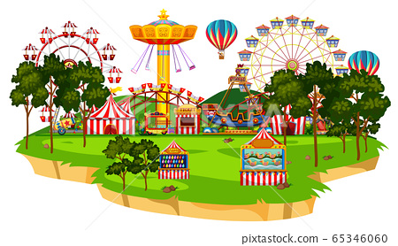 Scene with many rides in the circus park 65346060