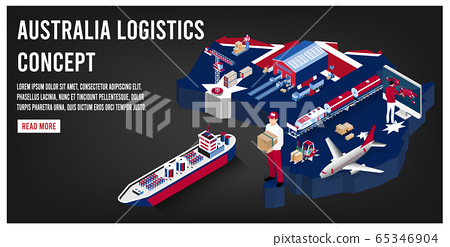 Modern isometric concept of Australia transportation with Global Logistics, Warehouse Logistics, Sea Freight Logistics.  Easy to edit and customize. Vector illustration 65346904