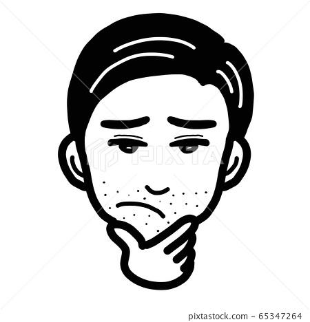 푸른 수염에 고민하는 남성의 일러스트 65347264