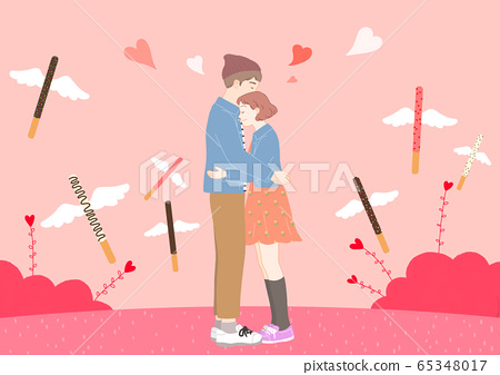 Love and romance concept, Couple in love illustration 004 65348017