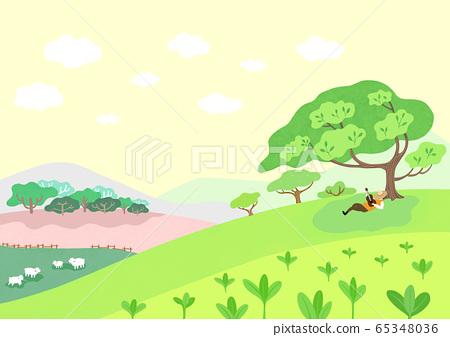 Beautiful spring natural scenery illustration 010 65348036