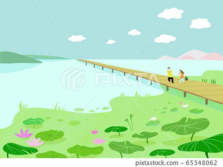 Beautiful spring natural scenery illustration 006 65348062