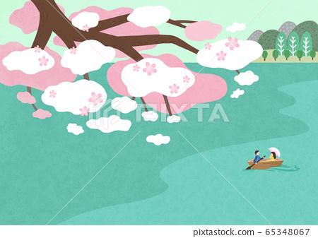 Beautiful spring natural scenery illustration 002 65348067