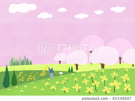 Beautiful spring natural scenery illustration 001 65348087