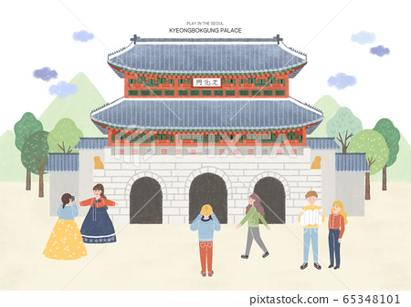 Travel and tourism concept, Famous Korean Landmarks illustration 001 65348101