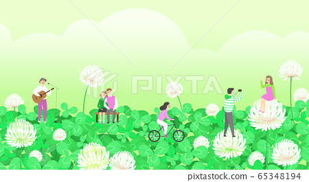 Beautiful spring landscape with blooming flowers illustration 006 65348194
