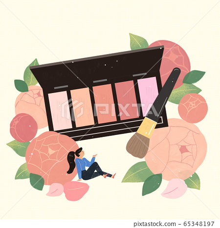 Beauty cosmetics advertisement with blooming flowers illustration 009 65348197