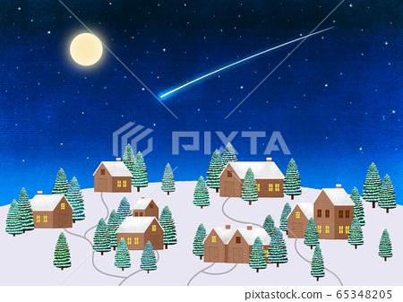 White winter forest landscape illustration 005 65348205