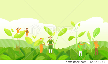 Beautiful spring landscape with blooming flowers illustration 007 65348235
