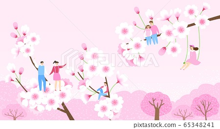 Beautiful spring landscape with blooming flowers illustration 012 65348241