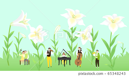 Beautiful spring landscape with blooming flowers illustration 010 65348243