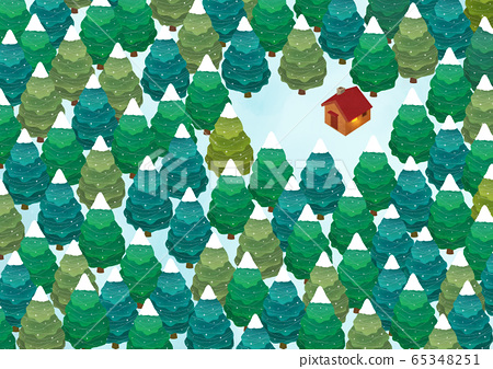 White winter forest landscape illustration 002 65348251