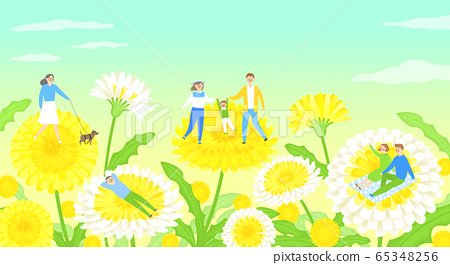 Beautiful spring landscape with blooming flowers illustration 005 65348256