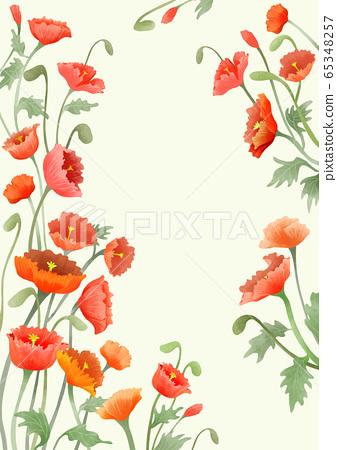 Beautiful floral frame design. Spring flowers background illustration 020 65348257