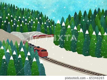 White winter forest landscape illustration 008 65348265