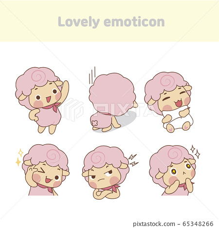 Cute lovely character emoticon set illustration 007 65348266