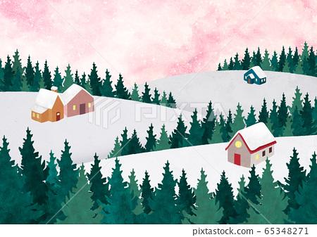 White winter forest landscape illustration 007 65348271