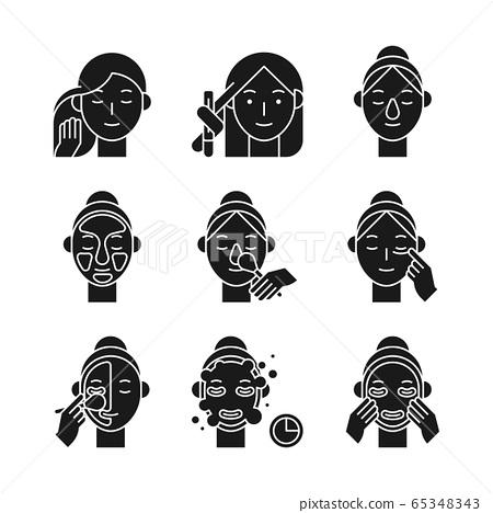 Beauty, cosmetics, skin care concept line icons set. Flat design illustration 036 65348343