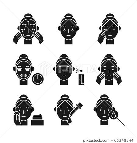 Beauty, cosmetics, skin care concept line icons set. Flat design illustration 034 65348344