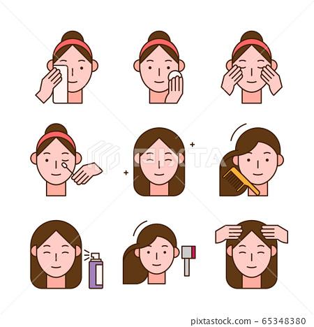 Beauty, cosmetics, skin care concept line icons set. Flat design illustration 020 65348380