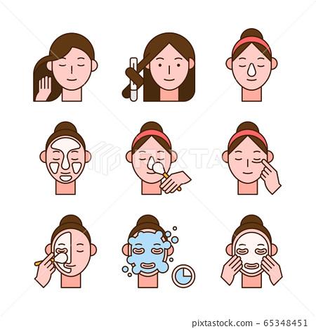 Beauty, cosmetics, skin care concept line icons set. Flat design illustration 021 65348451