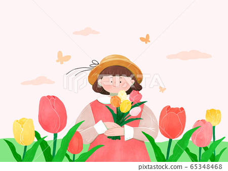 Beautiful flowers background. Lovely floral design element illustration 007 65348468