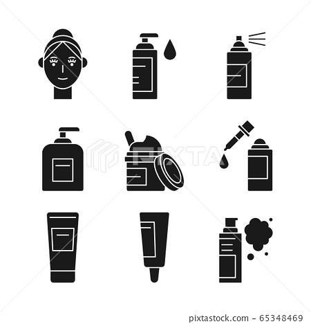 Beauty, cosmetics, skin care concept line icons set. Flat design illustration 042 65348469