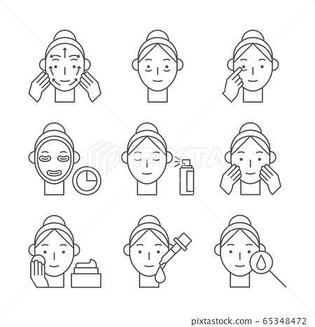 Beauty, cosmetics, skin care concept line icons set. Flat design illustration 004 65348472