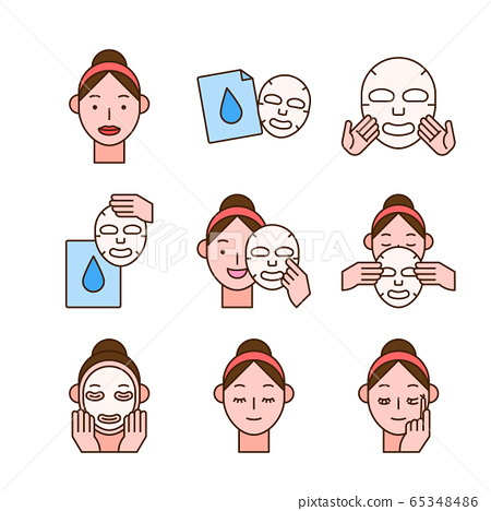 Beauty, cosmetics, skin care concept line icons set. Flat design illustration 025 65348486
