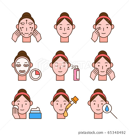 Beauty, cosmetics, skin care concept line icons set. Flat design illustration 019 65348492