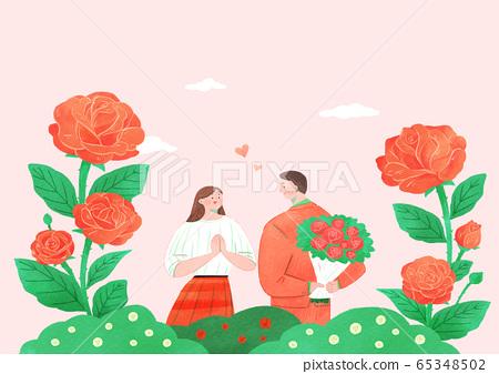 Beautiful flowers background. Lovely floral design element illustration 011 65348502