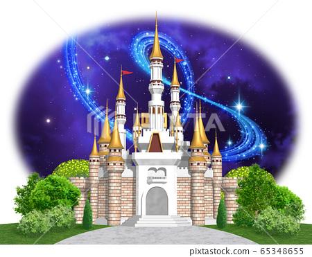 유럽의 성 - 캐슬 정면 밤하늘의 일러스트 65348655