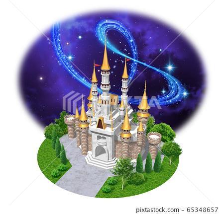 유럽의 성 - 캐슬 밤하늘의 일러스트 65348657