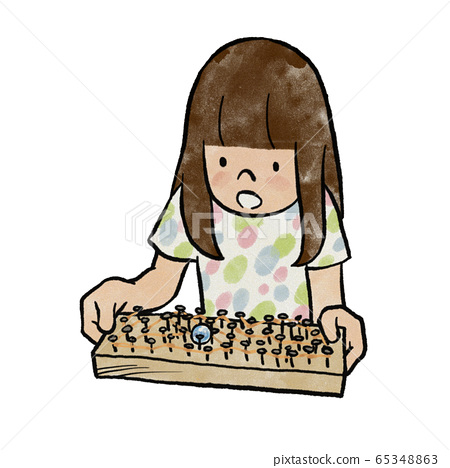 Girl playing in a maze made of rubber bands and nails 65348863
