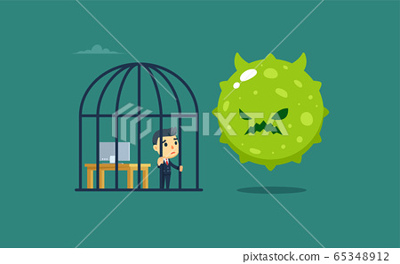 a businessman inside the bird cage with a giant 65348912