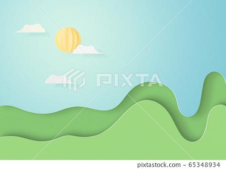 종이 공예 - 하늘 - 구름 - 태양 65348934