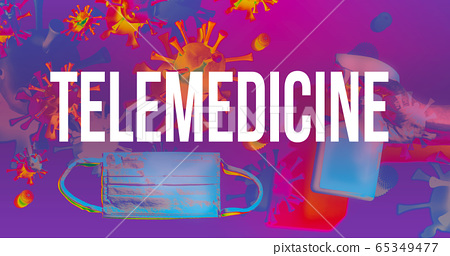 Telemedicine theme with face mask and spray bottle 65349477