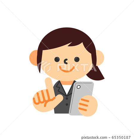 智能手機西裝上身女人 65350187
