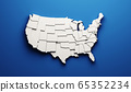 USA carved map by states showing different levels. 3D Rendering illustration 65352234