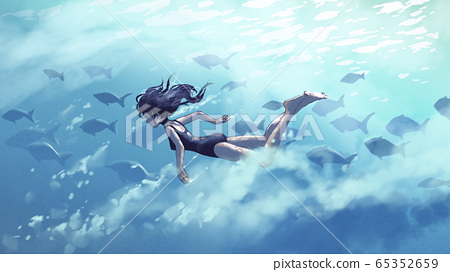 diving with a shool of fish 65352659