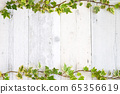Shabby board background material of white paint with English Ivy leaf decoration 65356619