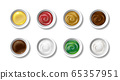 Set of realistic sauces in caps. Olive oil, soy sauce, pesto, mayonnaise, mustard, chocolate and tomato ketchup. Ceramic caps top view. Ingredients for salads and cooking food isolated. Vector 65357951